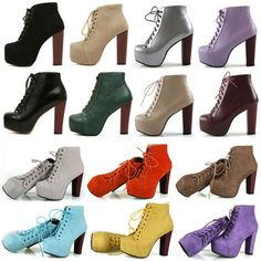 2014 Fashion Women Platform Chunky Spiked High Heel Punk Shoes Booties Lita Ankle Boots Heels Lace Up T Strap Pumps Booties