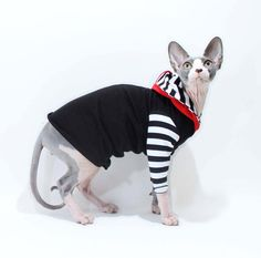 Sphynx Clothes Cat HOODIE Long Sleeve Strange Stripes Cat Sweater Goth pet Shirt lined hood grey red black stripes dog clothes pet apparel