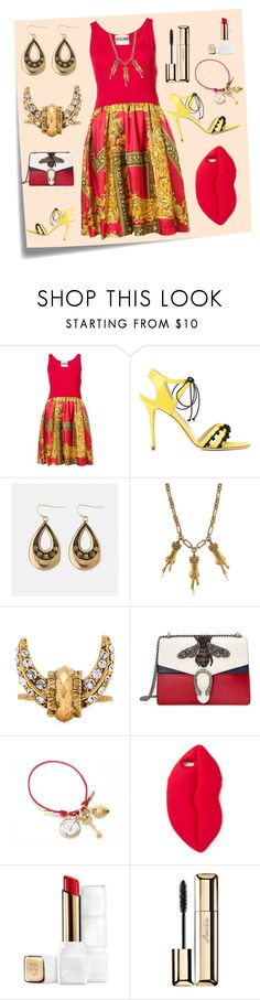 """Frame Dress..**"" by yagna ❤ liked on Polyvore featuring Post-It, Moschino, Manolo Blahnik, Avenue, Gucci, Elizabeth Cole, Dolce&Gabbana, STELLA McCARTNEY, Guerlain and vintage"