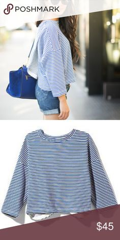 Townsen Blue & White Striped Crop Condition: Great! Size: M Other info: This shirt is AMAZING. Material is good quality and it looks great with high waisted jeans or shorts. Has a slit back.  No Trades.  Open to offers via the offer button. Townsen Tops Crop Tops