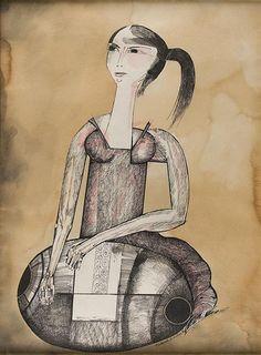 """Aldemir Martins  """"Mulher rendeira"""". Desenho á nanquim aquarela. Ass. dat. 1990 inf. dir. 75 x 55 cm."""