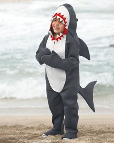 """Great White Shark Costume For Boys - exclusively ours - Cue the """"Jaws"""" soundtrack. Your little great white shark prowls the neighborhood in a hooded gray bodysuit, complete with fin, tail and pointy teeth."""