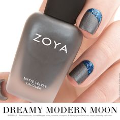 DREAMY MODERN MOON The moon manis may have many phases, but this angular half-​moon is one of our favorites. Matte and PixieDust shades are perfect to pair together since they both have a flat finish. Mix and match as you please for endless modern mani combinations!