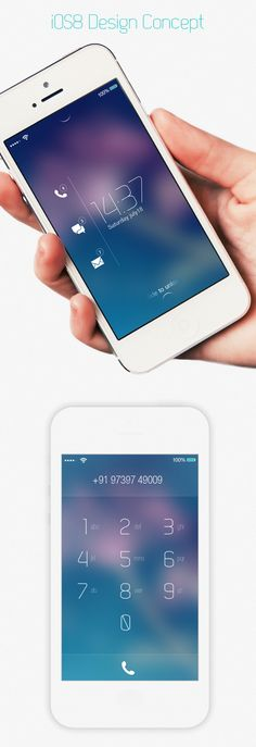 I like the text overlaying a blurred image background   iOS8 Design Concept. by Rabin Dey, via Behance