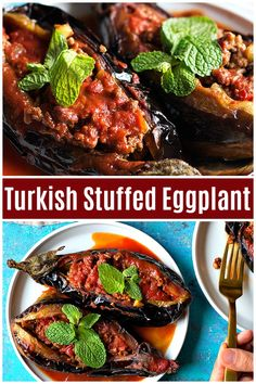 Karniyarik is a classic Turkish stuffed eggplant recipe. Delicious eggplants are… Karniyarik is a classic Turkish stuffed eggplant recipe. Delicious eggplants are stuffed with a tasty ground beef, pepper and tomatoes filling and are baked to perfection. Meat Recipes, Appetizer Recipes, Cooking Recipes, Healthy Recipes, Healthy Food, Vegetarian Recipes, Appetizers, Cheap Clean Eating, Clean Eating Snacks
