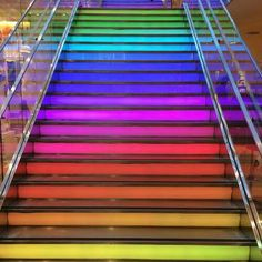 Light-up rainbow staircase