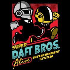 """Super Daft Bros"" by Baz is $10 today at ShirtPunch.com (08/19). #thsirt #DaftPunk #VideoGames #RetroGaming #Nintendo"