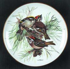 Tirschenreuth Band's Songbirds of Europe: Firecrest - Artist: Ursula Band Christmas Bird, Christmas Plates, Porcelain Ceramics, Ceramic Pottery, Crystal Glassware, China Painting, Bird Design, Bird Art, Bird Feathers