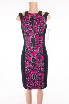 JOSEPH RIBKOFF New Dress 8 M Black Fuchsia Animal Print Cut Shoulders 12242 #JosephRibkoff #WeartoWork