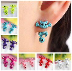 Multiple Color Cute Kitten Stud Earrings