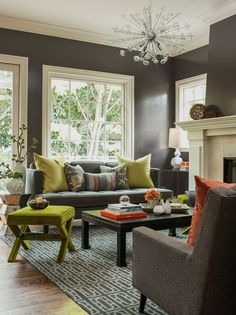 Love the gray.  Don't love the chartreuse, but it's still pretty. Love the Jonathan Adler ming table too.