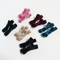 Velvet Mini Bow A Set of Two Hair Clip Set  #hair #shop #trend #gift #veryshine #hairaccessory #style #stylish #handmade #pretty
