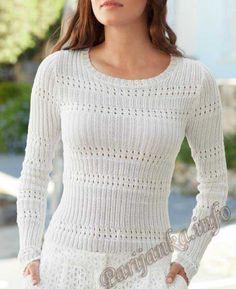 Ажурный пуловер (ж) 898 Creations 2014/2015 Bergere de France №4320