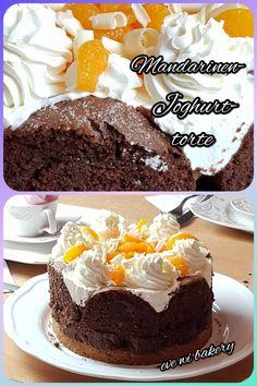 Fruchtige Joghurt Mandarinentorte mit Mürbteigboden und Biskuitrolle, das Rezept auf meinem Blog