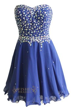 2015 A-line Beaded Royal Blue Chiffon Short Prom Dresses Am128