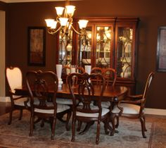 THOMASVILLE DINING TABLE, 6 CHAIRS AND CHINA CABINET. NOW $4679 AT  MARVASPLACE.COM