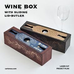 Wine box with sliding lid-butler Repurposed Wood Projects, Cool Wood Projects, Cnc Cutting Design, Laser Cutting, Wine In The Woods, Cool Laser, Laser Cutter Ideas, Woodworking Bench Plans, Woodworking Projects