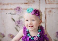 Purple Lilac White Teal  Baby Girl  Headband  by TheCraftyEuropean, $12.00