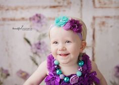 Purple Lilac White Teal  Baby Girl  Headband  by TheCraftyEuropean, $12.00