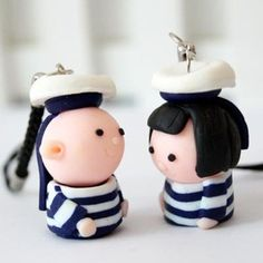 $2.67 The Tiida process phone pendant Dr. Navy Series polymer clay phone chain couple phone chain wholesale