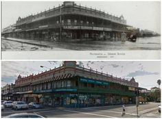 Goodmans Building cnr Parramatta Rd & Johnston St, Annandale 1927- 2014. [Leichhardt Council>Google Street View. By Kevin Sundgren] Then And Now Photos, Amazing Pics, Sydney Australia, South Wales, Historical Photos, Old Photos, New Zealand, Past, Street View