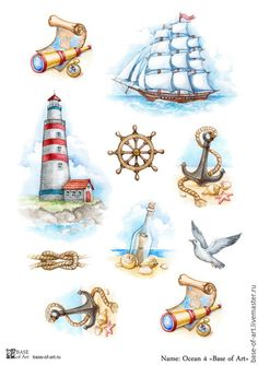 Illustration about Set of nautical watercolor illustrations. Illustration of beach, castaway, collection - 24218271 Watercolor Trees, Watercolor Animals, Watercolor Background, Abstract Watercolor, Watercolor Illustration, Watercolor Paintings, Simple Watercolor, Tattoo Watercolor, Watercolor Landscape
