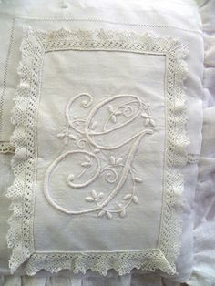Gladys Mae Stanton, looks just like one of her monogrammed hankies! Love and miss you MOM! Embroidery Monogram, White Embroidery, Ribbon Embroidery, Machine Embroidery, Shabby, Linens And Lace, Monogram Letters, Lace Fabric, Vintage Lace