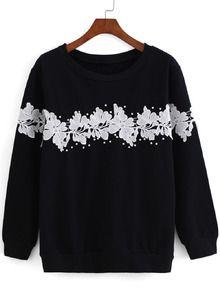 With Bead Floral Applique Black Sweatshirt
