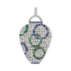 Estate Van Cleef & Arpels Art Deco Diamond, Sapphire & Emerald Pendant designed to resemble an Oriental vase, with circular-cut diamonds throughout, accented by gem-set circle motifs in calibre-cut sapphires and emeralds, mounted in platinum, circa 1920's