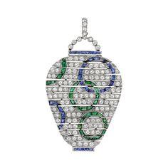 Estate Van Cleef & Arpels Art Deco Diamond, Sapphire & Emerald Pendant