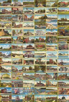 Would be cute to have a collection for the stores on a rack...vintage scenic postcards
