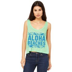 Mint Green Crop Top Aloha Beaches Spring Break Shirt Outfit Hawaii... ($15) ❤ liked on Polyvore featuring tops, green, tanks, women's clothing, beach shirts, mint shirt, mint green shirt, green tank and beach tank tops