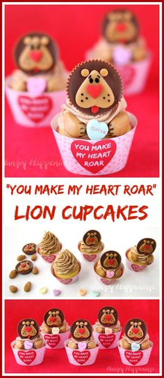 """""""You Make My Heart Roar"""" Lion Cupcakes make great Valentine's Day treats for those you are wild about. See the tutorial at HungryHappenings.com."""