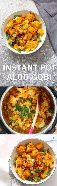 Instant Pot Aloo Gob Instant Pot Aloo Gobi - Curried Potato Cauliflower. 1 Pot Aloo Gobhi. Indian Gobi Aloo Masala. Vegan Gluten-free Soy-free Nut-free Recipe | VeganRicha.com https://www.pinterest.com/pin/111675265743351312/