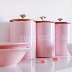 Pink Kitchen Decor, Cute Kitchen, Kitchen Stuff, Pink Home Decor, Pink Kitchen Appliances, Kitchen Utensils, Tea Coffee Sugar Jars, Kitchen Container Set, Tea Storage