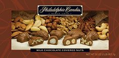 Philadelphia Candies Milk Chocolate Covered Assorted Nuts, 2 Pound Gift Box for sale online Love Chocolate, Chocolate Gifts, Chocolate Covered, Chocolate Bars, Gift Boxes For Sale, Georgia Pecans, Assorted Nuts, California Walnuts, Caramel Pecan
