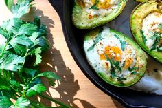 Baked Egg in Avocado With Parsley and Goat Cheese