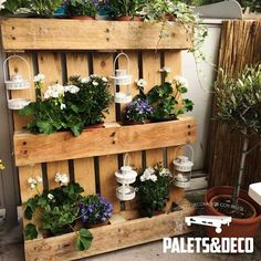 Garden by palets&deco Browse images of translation missing: rden-.rustic Garden designs by Palets&Deco. Find the best photos for ideas & inspiration to create your perfect home. Herb Garden Design, Small Garden Design, Balcony Planters, Small Backyard Landscaping, Backyard Ideas, Landscaping Ideas, Diy Garden Projects, Rustic Gardens, Small Gardens