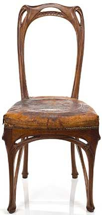 Hector Guimard (1867-1942) - Side Chair. Carved Walnut. Designed for Maison Coillot. Circa 1900.