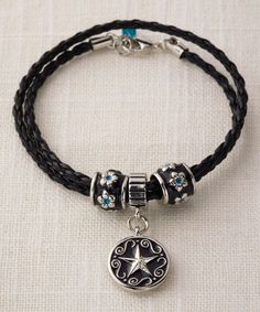 Loving this Black & White Star Braided Bracelet on #zulily! #zulilyfinds