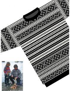 Genser med norske border XXS-XXXL Mittens Pattern, Vest Pattern, Free Pattern, Knitting For Kids, Knitting Projects, Weaving Patterns, Knitting Patterns, Fair Isle Chart, Diana