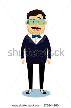 Hipster geek business man character isolated vector illustration