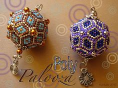"""Poly-Palooza """"Roaring 20's"""" Beaded Bead:  Beaded by the Beading Lizard  Designed by Keiser Designs  """"Free"""" e-Pattern here:  http://keiserdesigns.com/KDC_Learn.htm  There are a number of beaded beads, triangles & stars.  Very generous pdfs."""