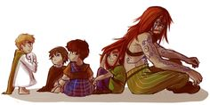 APH - We could have been a family by Le-Black-Sheep.deviantart.com on @deviantART - Young Arthur with his family: OCs for Wales, Scotland, Ireland, and the Ancient Celts (interesting to see a male OC for this - don't get that very often)