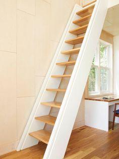 Modern Cabin Sleeping Loft Design, ladder