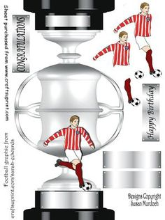 TROPHY CARD FOOTBALLER on Craftsuprint designed by Susan Murdoch - Easy to make 3D trophy shaped card for a footballer. Use for Congratulations as well as for Birthdays. Cut out the 'extras' from the sheet, then score and fold along the join between the front and back of the trophy. Now cut around to give you a free standing trophy card. You can easily cut out the landlocked white pieces inside the handles of the trophy. Do have a look at my album of Trophy cards on the gallery. Panels with…
