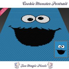 Cookie Monster Portrait crochet blanket pattern; c2c, cross stitch; graph; pdf download; no written counts or row-by-row instructions by TwoMagicPixels, $3.99 USD