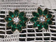Vintage Emerald Green and Clear Rhinestone by delightfullyvintage, $16.00