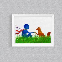 Art print Little Prince Fox Print Le Petit Prince Nursery Decor Watercolor print Wall Art  baby room baby shower gift  Saint-Exupéry Art -65