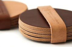 Smooth Leather Coaster Set in Multiple Shades – New York Makers
